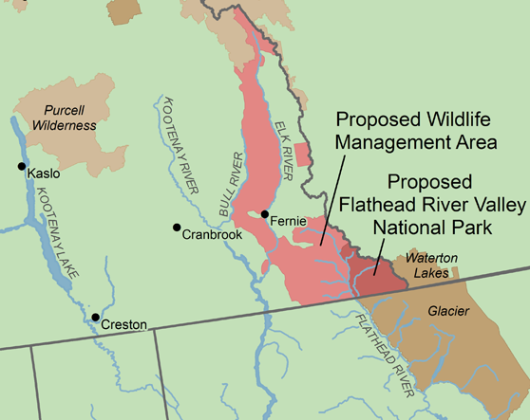 extract from proposed Flathead River National Park map